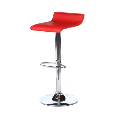 Wimberley Adjustable Height Swivel Bar Stool Upholstery: Red