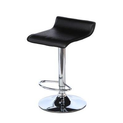 Wimberley Adjustable Height Swivel Bar Stool Upholstery: Black