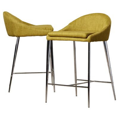 Angela 24.4 Bar Stool Upholstery: Pea
