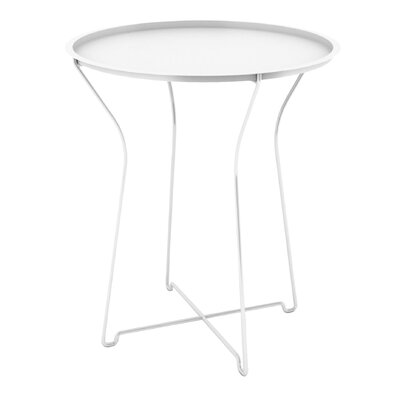 Sims Metal Tray End Table Finish: White
