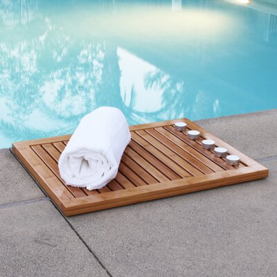 Almonte Bamboo Floor & Shower Mat Bath Rugs