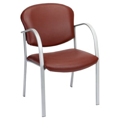 Oleanna Guest Arm Chair Seat Finish: Navy Vinyl, Frame Finish: Silver, Arms: With Arms