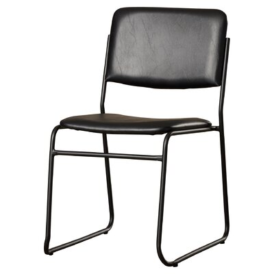 Jackston Metal Stacking Guest Chair (Set of 2) Upholstery / Frame Finish: Black Vinyl / Black