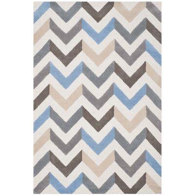 Medina Ivory/Grey Chevron Area Rug Rug Size: 6 x 9
