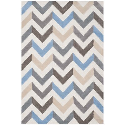 Medina Ivory/Grey Chevron Area Rug Rug Size: 9 x 12