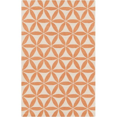 Jordan Hooked Beige/Orange Indoor/Outdoor Area Rug Rug Size: 8 x 10