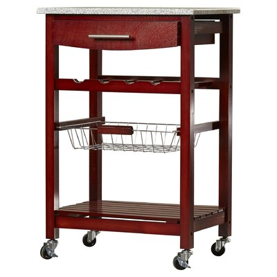 Flint Kitchen Cart with Granite Top Base Finish: Wenge