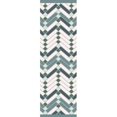 Wellow Hand-Woven Blue/Beige Teal Area Rug Rug Size: Rectangle 8 x 10