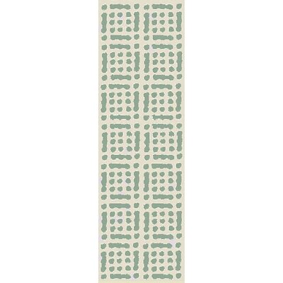 West Hill Hand-Hooked Green/Beige Indoor/Outdoor Area Rug Rug Size: Runner 26 x 8