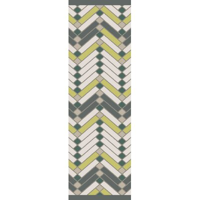 Wellow Hand Woven Beige/Green Area Rug Rug Size: Runner 26 x 8