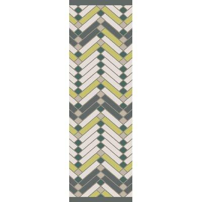 Wellow Hand Woven Beige/Green Area Rug Rug Size: Runner 26 x 8