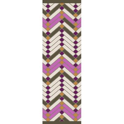 Wellow Hand Woven Beige/Pink Area Rug Rug Size: Runner 26 x 8