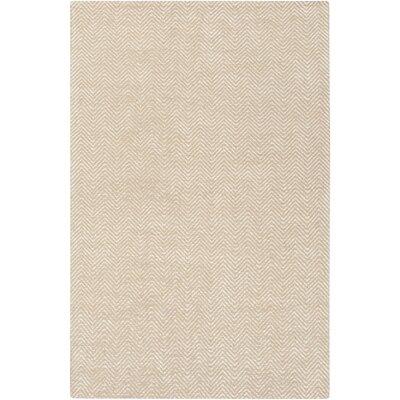 Tormarton Hand-Woven Beige Area Rug Rug Size: 5 x 8