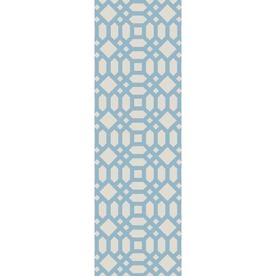 Upper Shockerwick Hand-Woven Beige/Blue Indoor/Outdoor Area Rug Rug Size: Runner 26 x 8