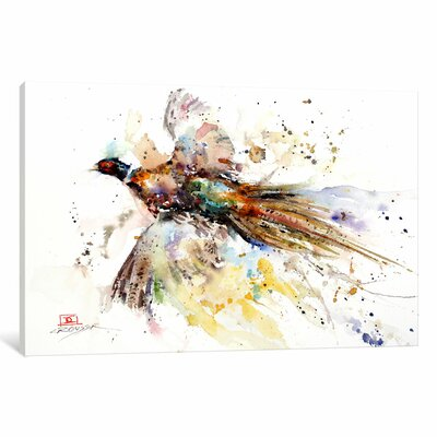 Colorful Pheasant Print Painting on Wrapped Canvas Size: 12