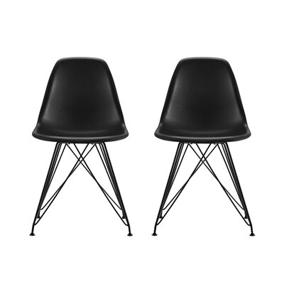 Vachon Eiffel Metal Side Chair Upholstery: Black
