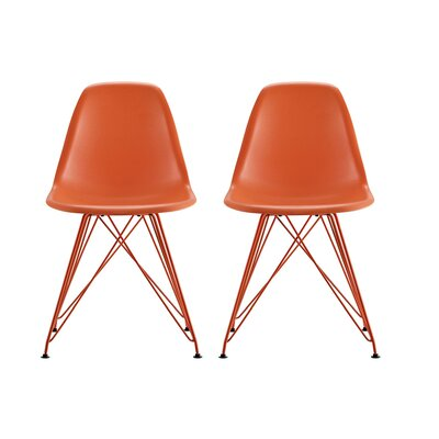 Arnetta Eiffel Metal Side Chair Color: Orange
