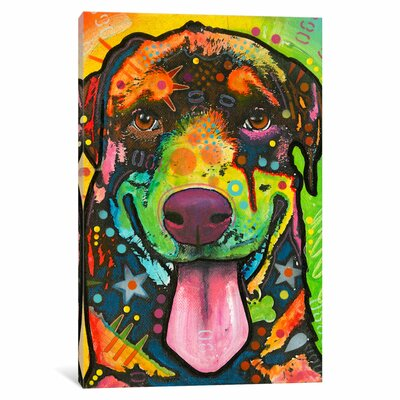 Rottie Pup Graphic Art on Wrapped Canvas