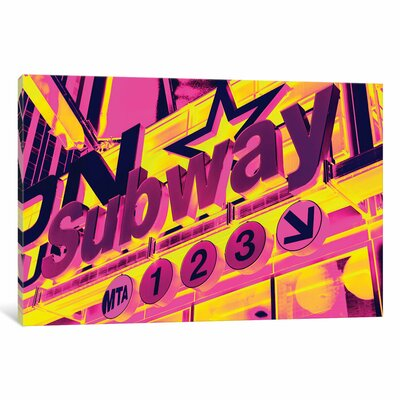 NYC Subway Sign by Philippe Hugonnard Graphic Art on Wrapped Canvas