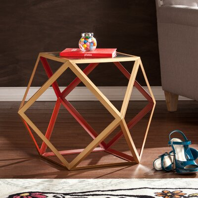Bank Street End Table Finish: Red and Champagne