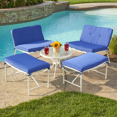 Tenafly 5 Piece Seating Group with Cushion Color: Blue