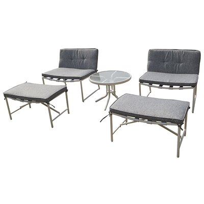 Tenafly 5 Piece Seating Group with Cushion Color: Deep Grey