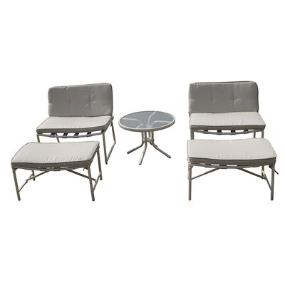 Tenafly 5 Piece Seating Group with Cushion Color: Light Grey