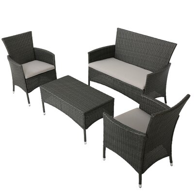 Laverock 4 Piece Deep Seating Group with Cushions Finish: Grey