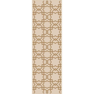 Hand-Woven Gold/Light Gray Area Rug Rug Size: Runner 26 x 8