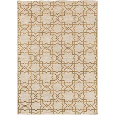 Hand-Woven Gold/Light Gray Area Rug Rug Size: 5 x 76