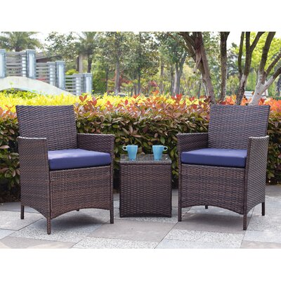 Minden 3 Piece Lounge Seating Group with Cushion Fabric / Finish: Navy / Brown