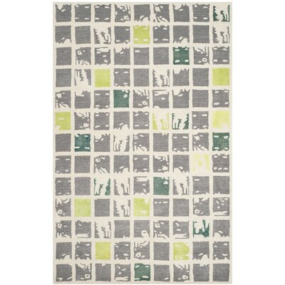 Jefferson Hand-Tufted Grey/Ivory Area Rug Rug Size: 26 x 4