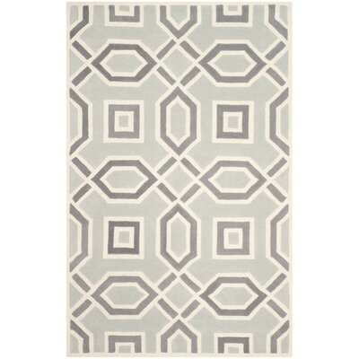 Rose Hand-Tufted Light Grey/Ivory Area Rug Rug Size: Rectangle 3 x 5