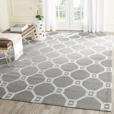 Columbus Circle Hand-Loomed Grey/Silver Area Rug Rug Size: Rectangle 73 x 93