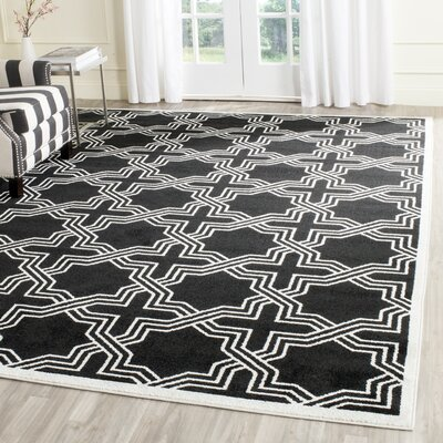 Waverly Place Black/Ivory Indoor/Outdoor Area Rug Rug Size: Rectangle 9 x 12