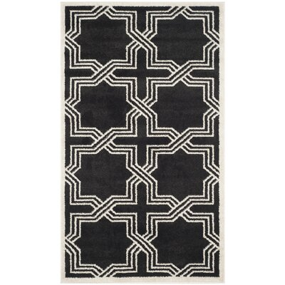 Waverly Place Anthracite/Ivory Indoor/Outdoor Area Rug Rug Size: 4 x 6