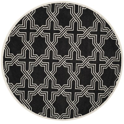 Waverly Place Black/Ivory Indoor/Outdoor Area Rug Rug Size: Round 7