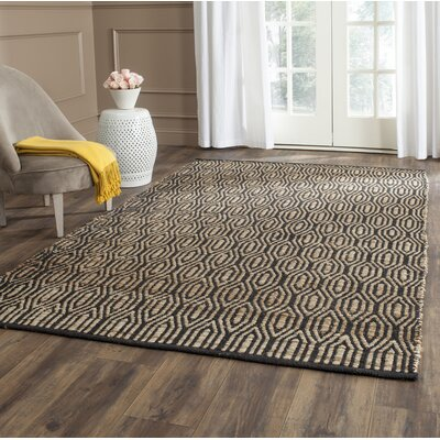 Astor Place Hand-Woven Black/Natural Area Rug Rug Size: Rectangle 6 x 9