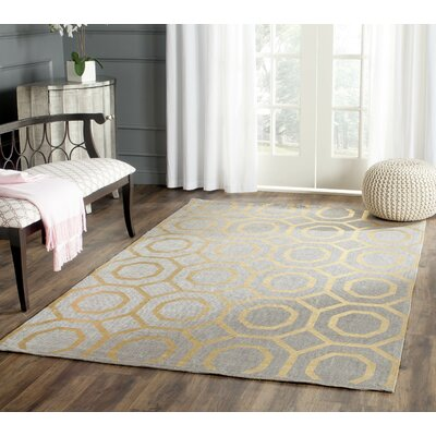 Columbus Circle Hand-Loomed Grey/Gold Area Rug Rug Size: Round 6