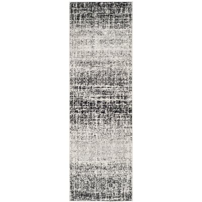 Norwell Gray/Black Area Rug Rug Size: Runner 26 x 18