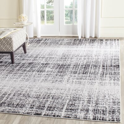 Norwell Gray/Black Area Rug Rug Size: Rectangle 9 x 12