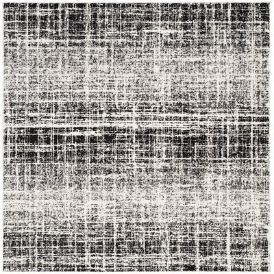 Norwell Gray/Black Area Rug Rug Size: Square 6
