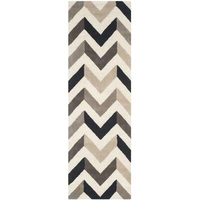 Shaler Hand-Tufted Ivory/Black Area Rug Rug Size: Runner 26 x 8