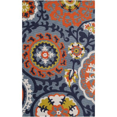 Columbus Circle Hand-Loomed Blue/Orange Area Rug Rug Size: Runner 2' x 6'