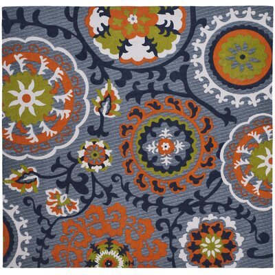 Columbus Circle Hand-Loomed Blue/Orange Area Rug Rug Size: Square 5'