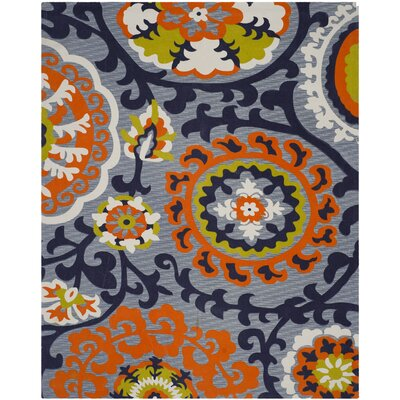 Columbus Circle Hand-Loomed Blue/Orange Area Rug Rug Size: 8' x 11'
