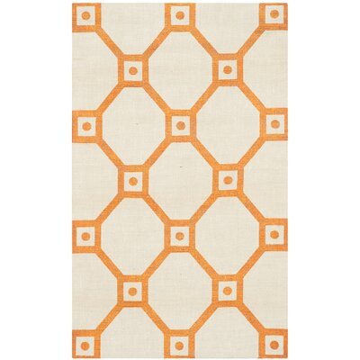 Columbus Circle Hand-Loomed Ivory/Orange Area Rug Rug Size: Rectangle 23 x 39