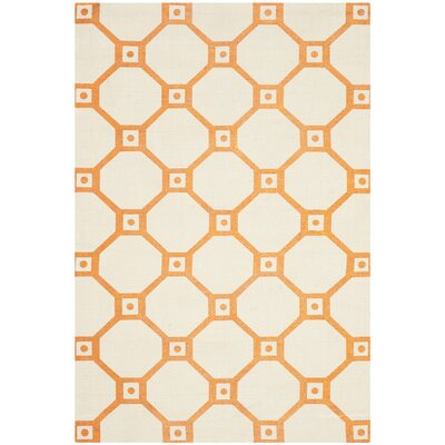 Columbus Circle Hand-Loomed Ivory/Orange Area Rug Rug Size: Rectangle 4 x 6