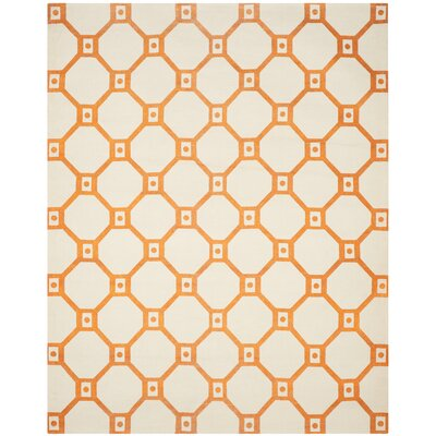 Columbus Circle Hand-Loomed Ivory/Orange Area Rug Rug Size: Rectangle 7'3