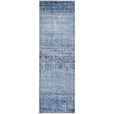 Schacher Blue/Silver Area Rug Rug Size: Runner 26 x 10